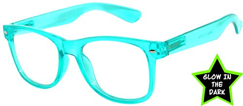 Retro Classic Vintage Clear Lens Sunglasses Turquoise Frame OWL