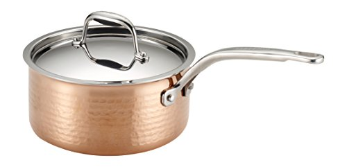 Lagostina Q5542364 Martellata Tri ply Hammered Stainless Steel Copper Dishwasher Safe Oven Safe Saucepan Cookware 2 Quart Copper