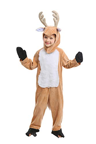Kids Animal Costume Cute Halloween Cosplay for Boys & Girls with Deer Hat (Small) Brown