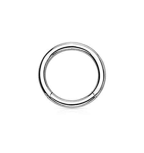 18G 6mm Surgical Steel Hinged Easy Use Seamless Hoop Body Piercing Ring