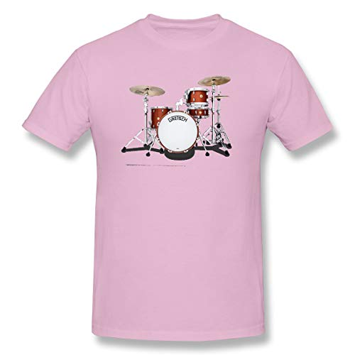 WENSON Men's Gretsch-Drums-Gretsch-Catalina-Club-Jazz-percussio-Drumset Classic T-Shirts Pink 4XL with Short Sleeve