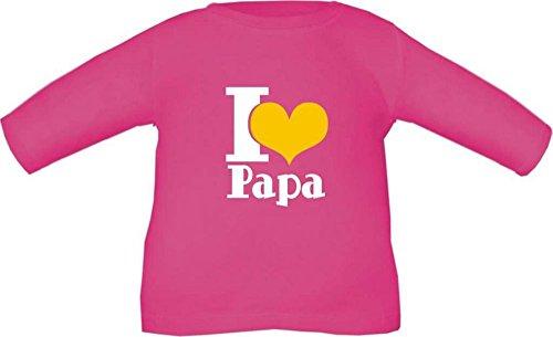 Baby / Kinder T-Shirt langarm (Farbe fuchsia) (Größe 6/7 - 122/128) I LOVE PAPA