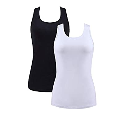 beautyin Women Basic Racerback Tank Top Shelf Bra Undershirt Wide Strap Yoga Top at Women's Clothing store
