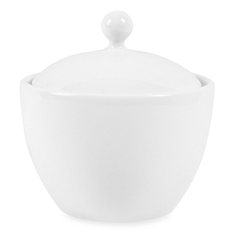 White Porcelain Sugar Bowl with Lid, 15 Oz.