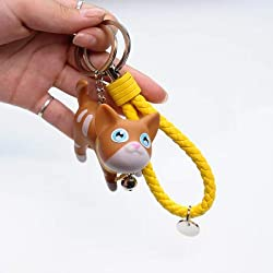 GoldLock Cute Cartoon Kitty Puppy Cat Toys 3D Frech Bulldog Pet Keychain Women Leather Strap Metal Key Ring Chains Car Bag Charm D67 (7)