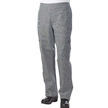 Chef Revival LP001HT Cotton Hounds Tooth Pattern Ladies Cargo Pant with 2 Side and 2 Rear Pockets, Large (Chef Revival Cargo Pants)