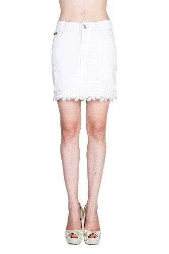 VIRGIN ONLY Women's White Lace Hem Skirt (XL, Denim)