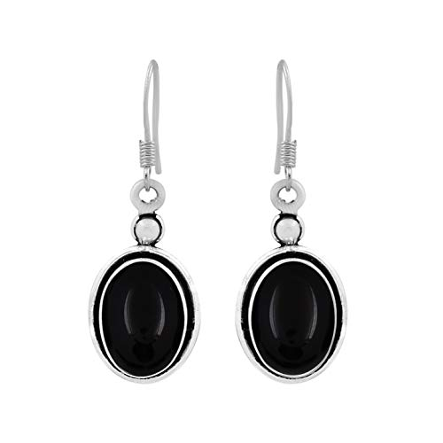 - 12.00ctw, Genuine Black Onyx & 925 Silver Plated Dangle Earrings