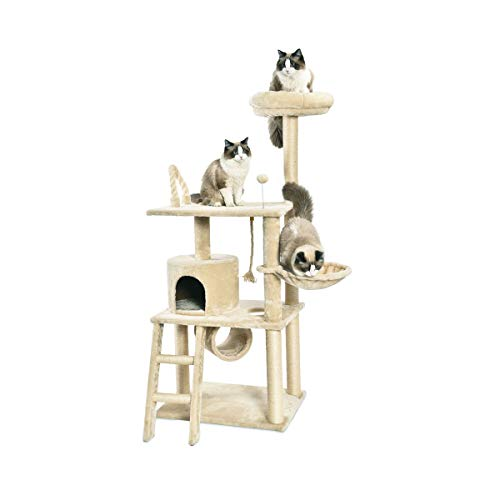 AmazonBasics Multi-Level Cat Tree Condo With Tunnel And Platform - 24 x 60 x 19 Inches, Beige (Bobber Cat Toy)