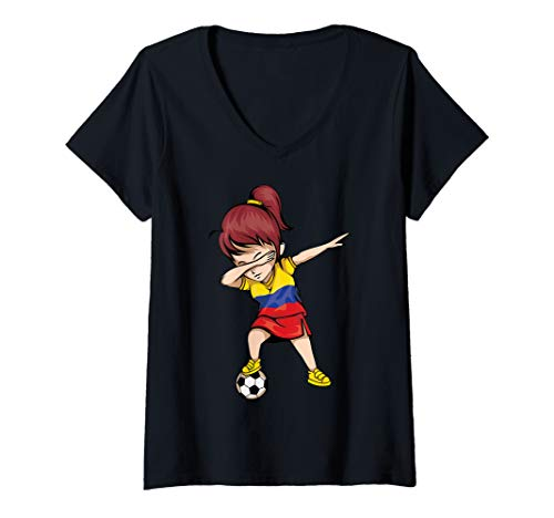 Womens Dabbing Soccer Girl Colombia Jersey Art Colombian Football V-Neck ()