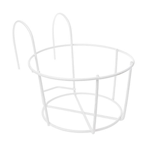 JAGETRADE Garden Tools Hanging Plant Iron Racks Balcony Round Flower Pot Rack Railing Fence Outdoor White