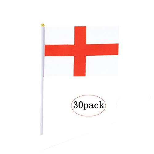English Stick Flag,England Hand Held Mini Small Flags On Stick International Country World Stick Flags For Party Classroom Garden Olympics Festival Sports Parades Parties Desk Decorations(30 pack)