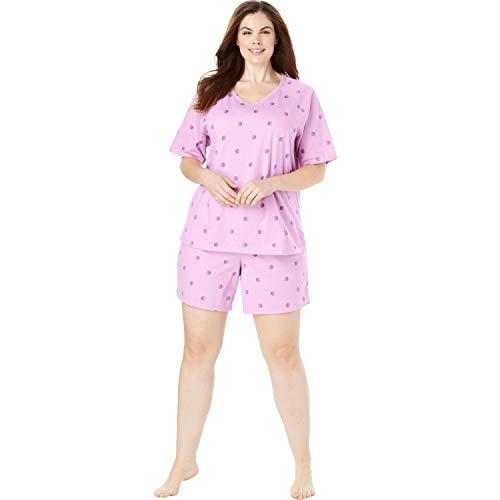 Dreams & Co. Women's Plus Size Knit Pj Short Set - Light Orchid Dot, 4X