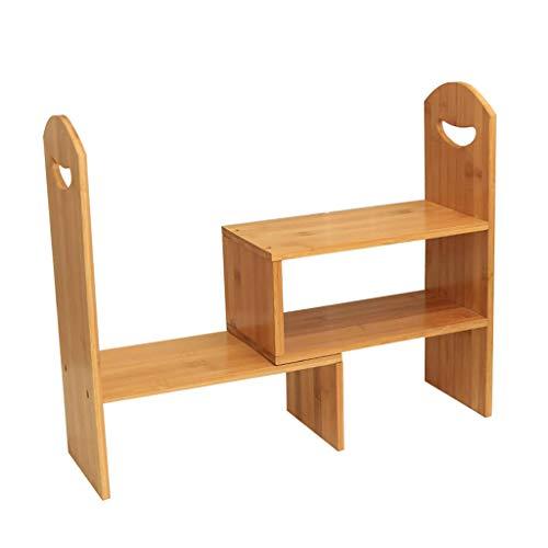 MOOLO Storage Racks Desktop Storage Shelf, Bookshelf Shelving Countertop Bookcase Supplies Bamboo Adjustable Desk Organizer Display Rack A