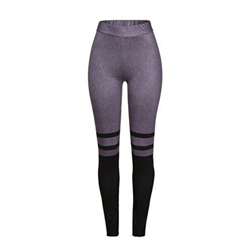 Fiaya Women High Waist Stripe Splice Yoga Fitness Leggings Running Gym Stretch Sports Pants Trousers (Small, Purple)