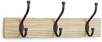 AmazonBasics - Perchero de pared, 3 ganchos estándar, Natural