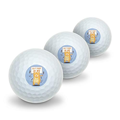 GRAPHICS & MORE Put Food in Me Hungry Cat Funny Humor Novelty Golf Balls 3 Pack