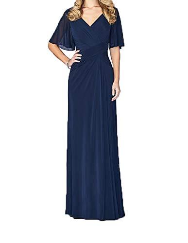 Abendkleider Blau Brautmutterkleider Jungendweihe Charmant Festlichkleider Dunkel Kleider Damen Lang Ausschnitt Royal V Elegant w77BFqI