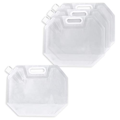 Juvale Collapsible Water Storage Containers - 4-Pack Foldable Water Bag, Food-Grade BPA-Free Plastic Portable Water Tank Carriers for Outdoor Camping, Hiking, Riding - Clear, 0.8 ()