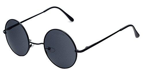 BOZEVON de Femmes Rond UV400 soleil gris Hommes Steampunk pour Rétro amp; Punk Goggles Lunettes Noir rq1wECdr