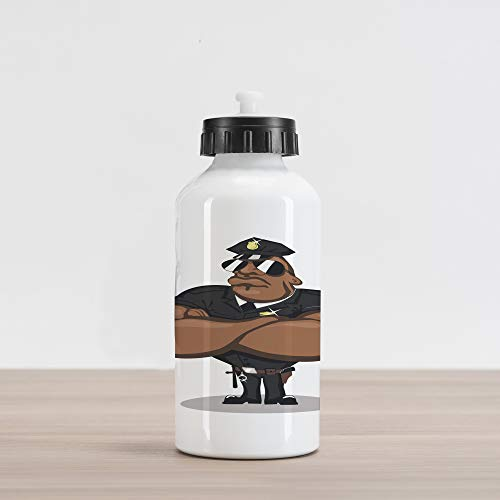 Lunarable Police Aluminum Water Bottle, Strong Muscular Charismatic Officer with Sunglasses Authority, Aluminum Insulated Spill-Proof Travel Sports Water Bottle, Black Brown Pale ()