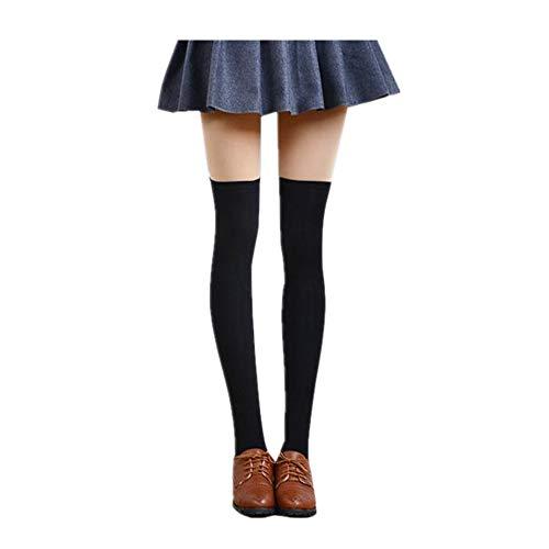 lunghe Tinta gambe ginocchio Calze Nero Calze emmina cotone di FOANA unita Calzini al lunghe alte Sexy Grandi qzt017p