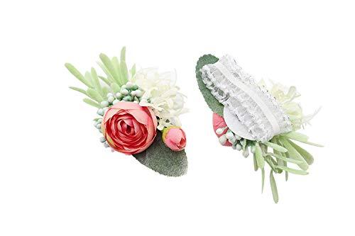 Yokoke Artificial Succulent Boutonniere Bouquet Corsage Wristlet Vintage Silk Fake Pink Flowers flocked Plants For Groom Bride Wedding Decor 2 Pcs (Wristlet)