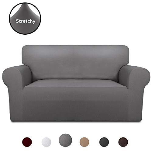 PureFit Super Stretch Chair Sofa Slipcover - Spandex Non Slip Soft Couch Sofa Cover, Washable Furniture Protector with Non Skid Foam and Elastic Bottom for Kids, Pets (Loveseat, Light Gray) (My Protector Love Pet Furniture)