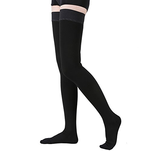 TOFLY Thigh High Compression Stockings, Opaque, Firm Support 20-30 mmHg Gradient Compression with Silicone Band, Closed Toe Compression Stockings, Treatment Swelling, Varicose Veins, Edema. Black L by TOFLY
