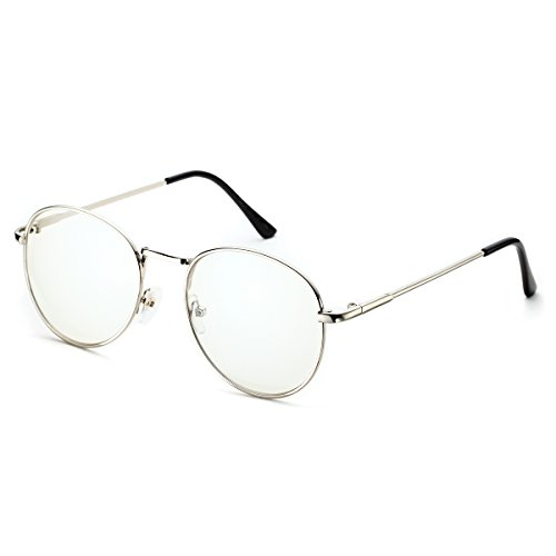 PenSee Oval Classic Retro Metal Frame Clear Lens Round Circle Eye - Round Eyeglass For Shaped Face