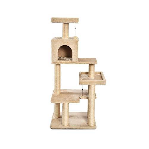 Cat Tree Tower - AmazonBasics Extra Large Cat Tree Tower with Condo - 24 x 56 x 19 Inches, Beige