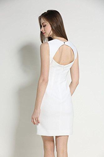 Cotylédons De Robes En Mousseline De Soie Épaule Robe Sans Manches De Couleur Unie Col Bateau Blanc