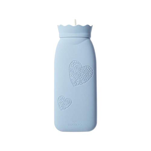 Microwave Heating Bottle Environmental Silicone Transparent Hot Water Bag with Knit Cover, Hot & Cold Therapies - Gift for Birthday, Christmas, Valentine's Day, Gift Exchange Party (Blue, Long)