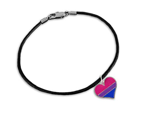 Fundraising For A Cause Bisexual Heart Leather Cord Bracelet in a Gift Box (1 Bracelet - Retail) ()