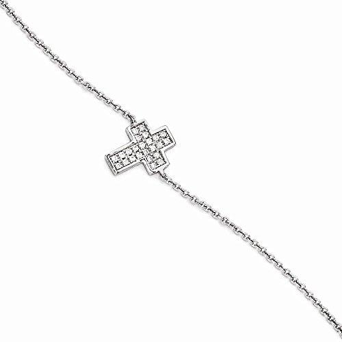 Silver C.Z Brilliant Embers Cross Bracelet