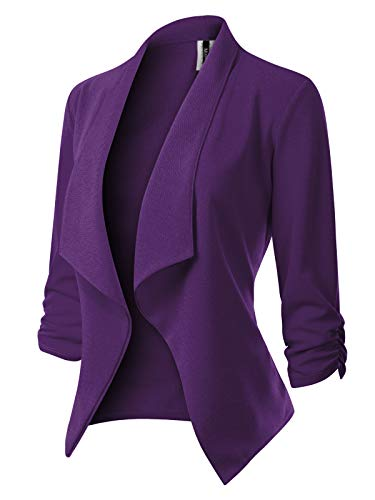 MixMatchy Women's [Made in USA] Classic 3/4 Gathered Sleeve Open Front Blazer Jacket (S-3XL) Purple M