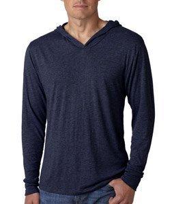 Next Level Mens Triblend Long-Sleeve Hoodie (N6021) -VINTAGE NA - Blend Polyester Cotton