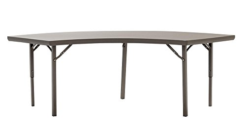 ZOWN Commercial 300 lb. Use Rate Half Moon Heavy Duty Blow Mold Banquet Folding Table with End of Table Seating, Brown