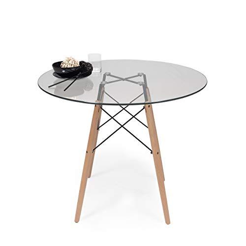 Homely - Mesa de Cocina o Comedor Redonda Tower Vintage Sobre de Cristal de 90 cm y pie Central Tipo Tower,