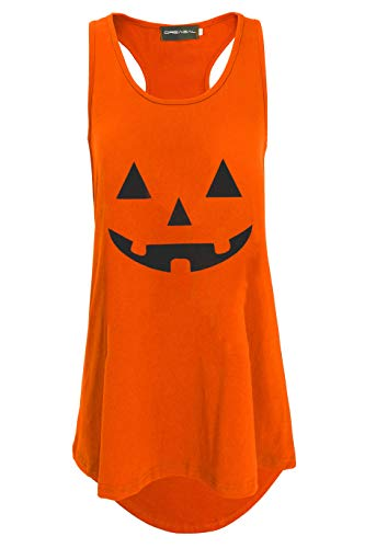 DREAGAL Women's Orange Pumpkin Halloween Costume Shirt Tank Top Women XS -