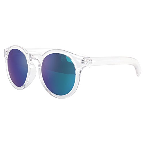 VIVIENFANG Color Mirrored Lens Translucent Frame Horn Rimmed Round Polarized Sunglasses For Unisex P1634A - Transparent Translucent Is Or Sunglasses