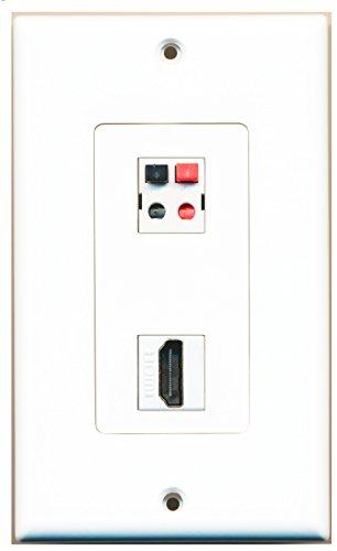 RiteAV - 1 Port HDMI 1 Port Speaker Decorative Wall Plate - Hdmi And Speaker Wall Plate