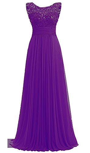 Beaded Long PROMLINK Wedding Guest Gown Women's Dresses for Chiffon Purple AwRxft5Rq