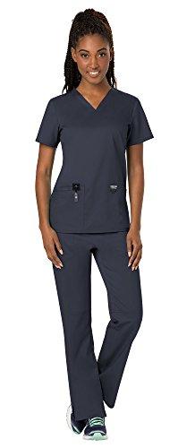 (Cherokee Workwear Revolution Women's Medical Uniforms Scrubs Set Bundle - WW620 V-Neck Scrub Top & WW110 Elastic Waist Scrub Pants & MS Badge Reel (Pewter - Medium))
