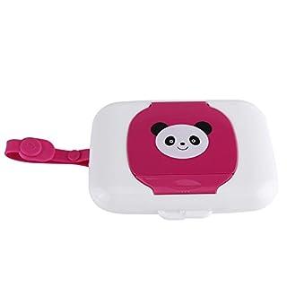 Baby Outdoor Portable Wet Tissue Dispenser Case Infant Reusable Stroller Pram Wet Wipes Box Convenient Tissue Case for Travel(White + Rose)