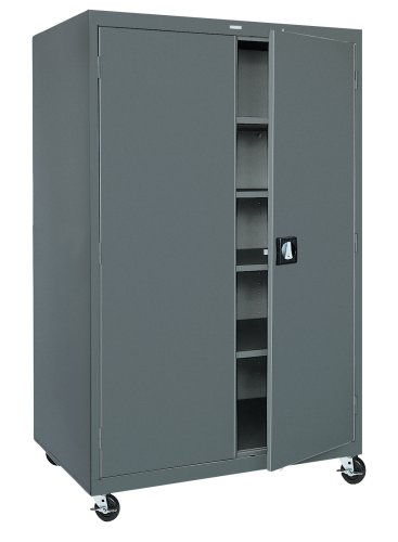 Sandusky TA4R462472-02 46-Inch Wide by 24-Inch Deep by 78-Inch High Transport/Mobile Storage Four-Shelf Cabinet, Charcoal - Edsal Mobile Service Bench