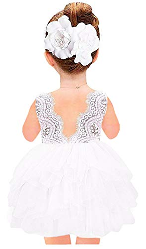 2Bunnies Girl Beaded Peony Lace Back A-Line Tiered Tutu Tulle Flower Girl Dress (White Short Sleeveless, 9-10YRS)