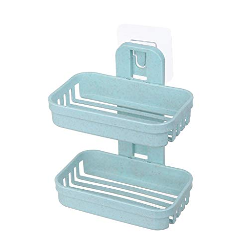 telaite Powerful Suction Cup Soap Holder for Shower, Wall Mounted Soap Dish for Bathroom and Kitchen, Soap Box with Draining Tray, Reuseable(Green)