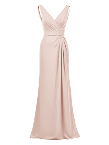 Alicepub Maxi Dress Formal Bridesmaid Dresses Mermaid Elegant Evening Prom Gown, Pearl Pink, US14