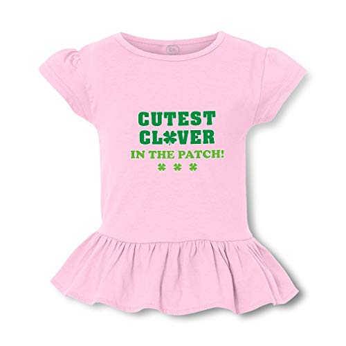 Cutest Clover in The Patch Short Sleeve Toddler Cotton Girly T-Shirt Tee - Soft Pink, Large